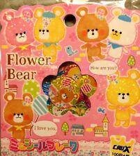 Kawaii CruX Flower Bear Sticker Flakes Sack 52 Stickers