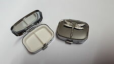 Dragonfly PP-A30 English Pewter Emblem on a Rectangular Metal Pill Box