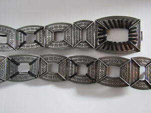 Silver Tone Etched Metal Concho Stretch Elastic Hip Belt Women's Size L Large