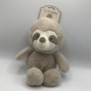 "KellyBaby Kellybaby 14"" Sloth Tan Crinkle Rattle Infant Plush Stuffed Lovey 2019"
