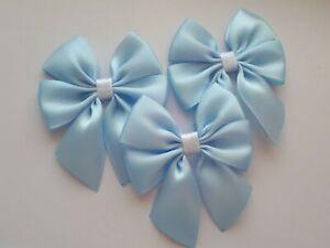 6 x Ready Made Satin Bows Baby Light Blue Glitter Trim 6 cm Wedding Crafts Sew
