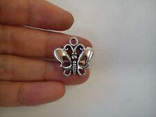 20 butterfly pendant charm tibetan silver antique style jewellery wholesale FB8