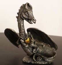 Mythical Fantasy Dragon Holding Gold Tone Heart Metal Figurine. D&D Figurine.