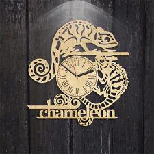 Chameleon Lizard Wooden Clock Gift idea Unique Modern Decor Wall ART Decorate