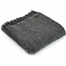 TWEEDMILL TEXTILES 100% New Wool Sofa Bed Throw Blanket WAFER SLATE GREY