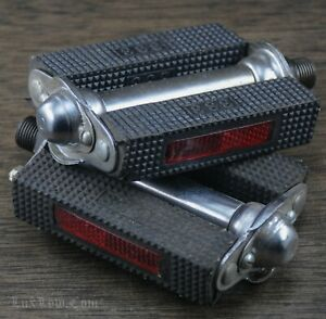 """9/16"""" India 333 Block PEDALS Reflector Roadster Bicycle Vintage Raleigh TourBike"""