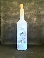 Frosted Decorative Wine Bottle with a Robin Themed design & Battery LED's
