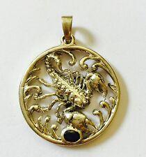 XL 925 Silber 585 Weißgold echt Saphir Skorpion Anhänger 14.9g!