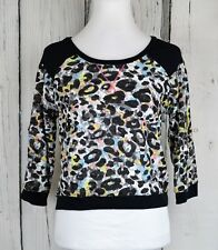 06f95e41638c Bongo Junior Animal Print Crop Sweatshirt Top Pullover 34Sleeve Casual Shirt  XL