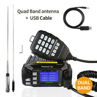 Radioddity DB25 Pro Dual Band Mobile Car Radio VHF UHF 25W w/ Quad Band Antenna