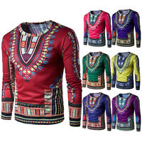 Mens Dashiki Traditional Thailand Style African Print Summer T-Shirt Blouse Tops