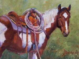 Original oil painting direct from artist. Paint horse with saddle, western art.