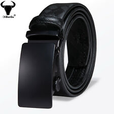 Formal Mens Belts Black Leather Ratchet Solid Automatic Buckles Business Straps