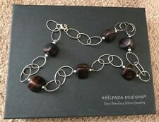 Silpada Sterling Silver Large Chain Link Ebony Brown Wood Bead 925 Necklace 21""