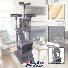 73' Cat Tree Deluxe Tower Condo Playhouse Scratching Post Kitten Furniture Gray