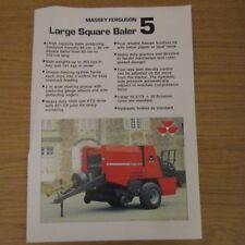 MASSEY FERGUSON MF5 MF 5 Large Square Baler UK Market Brochure Leaflet 1988