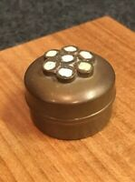 "Vintage Brass Small Mini Tiny Round Snuff, Trinket,Pill  Box, 1-1/4"" Diameter"