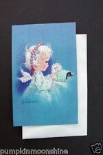 Vintage Unused Eve Rockwell Xmas Greeting Card Angel Tucking in Jesus at Manger
