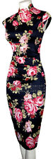 KAREN MILLEN ORIENTAL CORSET BLACK & RED ROSES DRESS 8