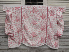Antique French day bed cover pink block print c1870 ~