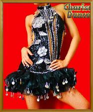 CUSTOM BLack Vegas Latin CABARET dance RUFFLE dress