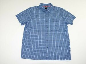 The North Face Men's Button Front Shirt Large Short Sleeves Blue Gray Hiking L