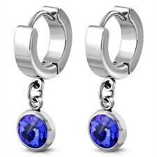 Huggie Hoop Drop Earrings Sapphire color Hypoallergenic Surgical Steel
