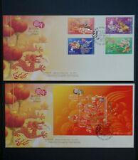 2012 China Hong Kong CNY Year of the Dragon Stamp Set + Sheetlet FDC