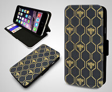 Bumblebee Honeycomb Hexagon Pattern Honey Bees Wallet Leather Phone Case Cover