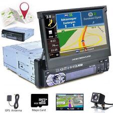 "1 DIN Single 7"" Touch Screen Car MP5 GPS Player BT Radio Camera Sat NAV Map"