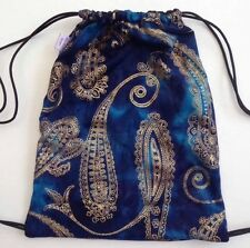 Handmade Blue Tie dye And Gold Paisley Drawstring Back Pack Festivals Ibiza 90s