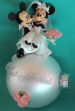 DISNEY PARKS BRIDAL MICKEY MINNIE JUST MARRIED GLASS BALL CHRISTMAS ORNAMENT NEW
