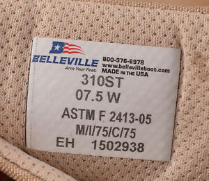 Mens BELLEVILLE 310ST Steel Toe Military Hot weather Boots 7.5W 7.5 WIDE NEW NWT