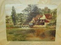 Vintage Original Oil Painting On Board ' Landscape ', Signed By G. Sutton