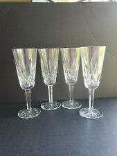 Four Waterford Lismore Champagne Flutes *Excellent *Signed