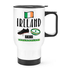 Rugby Ireland Travel Mug Cup With Handle - Funny Union Shamrock Flag Thermal