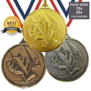 WINDSURFING BRASS MEDAL 52mm BEST QUALITY, FREE RIBBON, 3 COLOURS,