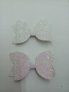 2 glitter Hairbows white set