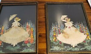 Vintage Framed Paper Doll  Ribbon and Lace Dress in a garden with flowers- pair