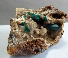 Emerald Green DT Dioptase Crystals on Drusy Quartz fr M'Fouati in Congo OS