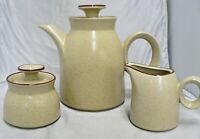VINTAGE NORITAKE STONEWARE GINGERBREAD COLOR COFFEE POT, CREAMER & SUGAR BOWL