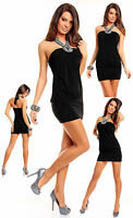 New Women Clubbing Mini Dress Sexy Ladies Evening Party Black Top Size 6 8 10