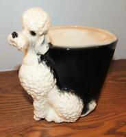 Vintage ROYAL COPLEY White Sitting Poodle With Round Black Planter
