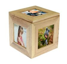 Personalised Oak Wooden 5 Picture Photo Cube Keepsake Box - We Add Your Photos