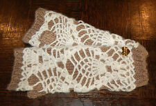 BETSEY JOHNSON Texting Fingerless Long Gloves Arm Warmers Beige Crocheted look