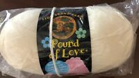 SKEIN OF LION BRAND POUND OF LOVE YARN COLOR 099 ANTIQUE WHITE