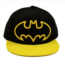 Batman Yellow Logo Embroidered Cap Hat Black 6 Flags Pre-worn #A-001