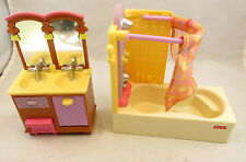 Mattel Fisher Price Loving Family Doll House Double Sink Vanity & Bathtub