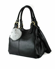 Womens 3 Compartments Pom Pom Charm Large Shoulder Bag Work Tote Hobo Handbag