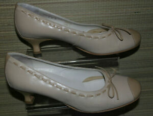 HOTTERWOMENS BROWN/CREAM SLIP ON LEATHER COURT HEELED SHOES SZ:7/41(WHS424)